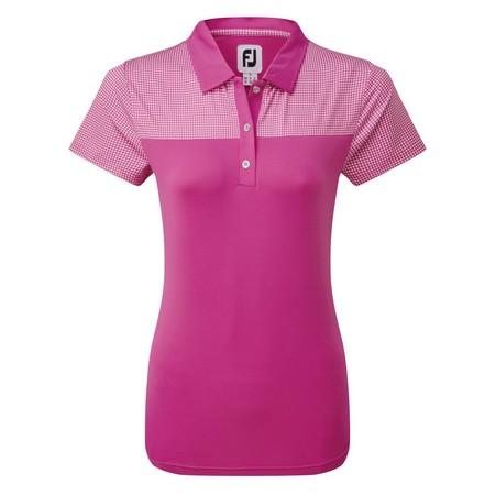 FootJoy Womens Lisle Shirt with Dot Print Yoke